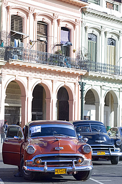 A 1950's American Chevy for sale in central Havana, Cuba, West Indies, Central America