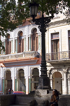 Old buildings and street lamp on Paseo del Prado in central Havana, Cuba, West Indies, Central America