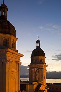 Domes of the Catedral de la Anuncion at dusk, Santiago de Cuba, Cuba, West Indies, Central America
