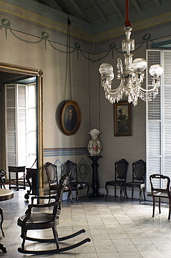 An ornately decorated room in the Casa de Diego Velazquez which is also the Museo de Ambiente Historico Cubano,Santiago de Cuba, Cuba, West Indies, Central America