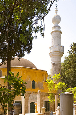The Tzami Tou Mourad Reis Mosque and Muslim cemetery, Rhodes Town, Rhodes, Dodecanese, Greek Islands, Greece, Europe