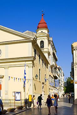 Street scene, Corfu Town, Corfu, Ionian Islands, Greek Islands, Greece, Europe