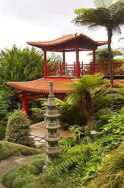 A Japanese style pavilion in The Monte Palace Tropical Garden, Madeira, Portugal, Europe