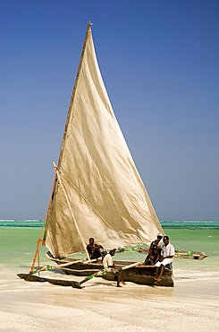 A traditional wooden sailing dhow on Kiwendwa Beach, Zanzibar, Tanzania, East Africa, Africa