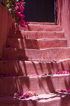 Colourful pink steps in the old town section of Hania (Chania) (Xania), Crete, Greece, Europe