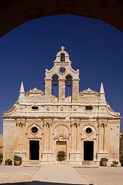 The Venetain facade of the Arhkadhi Monastery (Moni Arkhadhi) twenty-five miles from Rethymnon, Crete, Greece, Europe