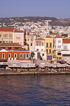 A view of tavernas around the harbour in the old town section of Hania, Crete, Greek Islands, Greece, Europe