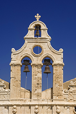The ornate Venetain belltower of the Arkadhi Monastery (Moni Arkadhi), twenty-five miles from Rethymnon, Crete, Greek Islands, Greece, Europe