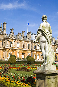 Marble statue of a woman in the garden in front of Waddesdon Manor in spring, Aylesbury, Buckinghamshire, England, United Kingdom, Europe