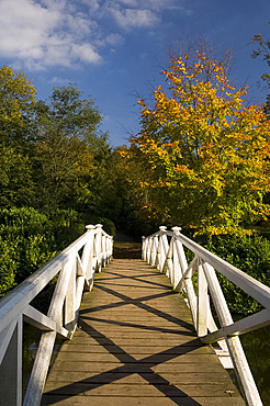 A wooden bridge across the lake at Painshill Landscape Garden in autumn, Cobham, Surrey, England, United Kingdom, Europe