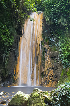 A waterfall at the Diamond Botanical Gardens, St. Lucia, Windward Islands, West Indies, Caribbean, Central America