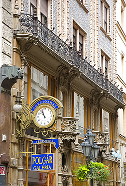 The ornate facade of a building in Vaci Street, a pedestrian shopping area in the Pest side of Budapest, Hungary, Europe
