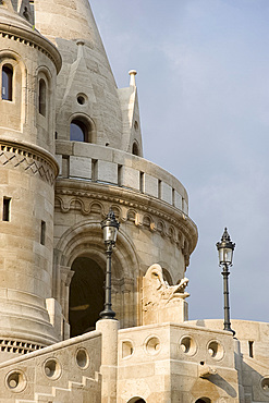 A newly restored section of the Fishermen's Bastion, Budapest, Hungary, Europe