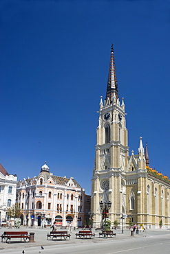The Catholic Church in the old town pedestrian section of Novi Sad, Serbia, Europe