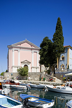 The colourful harbour in Veli Losinj on the island of Losinj in the Kvarner region, Croatia, Adriatic, Europe