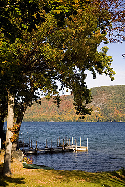 View across Lake George to mountains covered with autumn foliage, Lake George, Adirondack Mountains, New York State, United States of America, North America