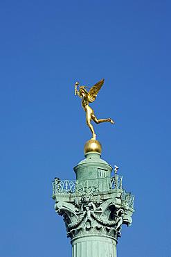 The Genius of Liberty statue on top of the Colon de Juillet in the Place de la Bastille, Paris, France, Europe