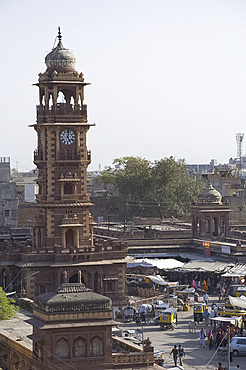 The clock tower in the centre of the Sardar Market in the old section of Jodhpur, Rajasthan, India, Asia