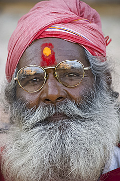A holy man in a turban and long beard in Jaipur, Rajasthan, India, Asia