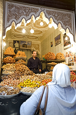 Nuts and dried fruit for sale at a stall in the souk in Marrakech, Morocco, North Africa, Africa