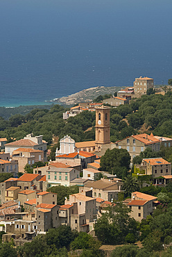 An elevated view of the picturesque village of Aregno in the inland Haute Balagne region, Corsica, France, Mediterranean, Europe