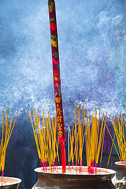 Incense sticks burning in an urn in the Thien Hau Pagoda in Ho Chi MInh City, Vietnam, Indochina, Southeast Asia, Asia