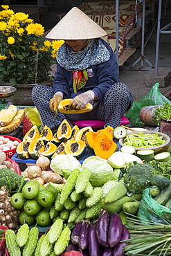 Fruit and vegetables for sale at the market in Hoi An, Quang Nam Province, Vietnam, Indochina, Southeast Asia, Asia