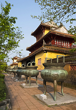 Bronze dynastic funerary urns in front of the Hien Lam Pavilion in the Imperial City, The Citadel, UNESCO World Heritage Site, Hue, Vietnam, Indochina, Southeast Asia, Asia