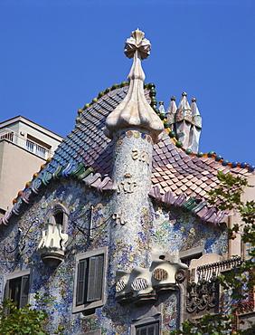 Detail of Gaudi's Casa Batllo, Barcelona, Spain