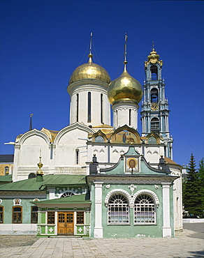Trinity Cathedral and bell tower, Trinity Monastery of St. Sergius, Zagorsk, Russia, Europe