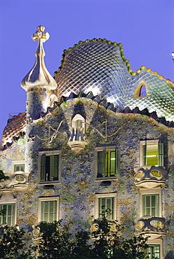 Gaudi architecture, Casa Batllo, Barcelona, Catalunya (Catalonia) (Cataluna), Spain, Europe