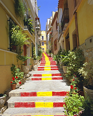 Spanish steps in Calpe, Valencia, Spain, Europe