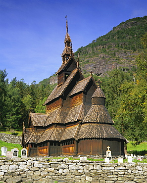 Borgund Stave Church, the best preserved 12th century stave church in the country, Borgund, Western Fjords, Norway, Scandinavia, Europe