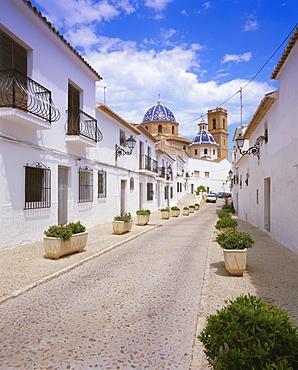 Church and street in Altea, Valencia, Spain, Europe
