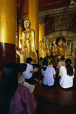 Worshippers in the pavilion where hti was placed, Shwedagon Paya (Shwe Dagon Pagoda), Yangon (Rangoon), Myanmar (Burma), Asia