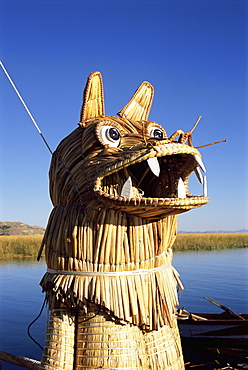 Detail of decoration on traditional reed boat, floating islands, Islas Flotantes, Lake Titicaca, Peru, South America