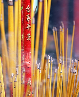 Close-up of incense sticks burning, Thien Hau pagoda, Chinese Buddhist temple, Ho Chi Minh City (Saigon), Vietnam, Indochina, Southeast Asia, Asia - 252-10562