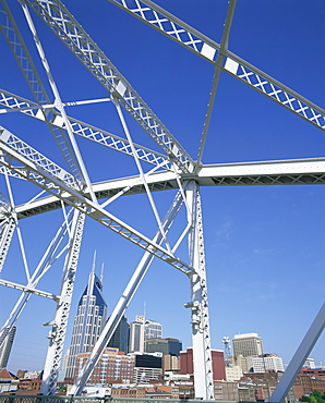 City skyline and new pedestrian bridge, Nashville, Tennessee, United States of America, North America