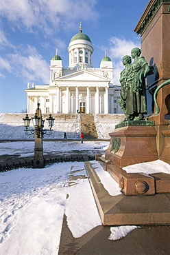 Lutheran Christian cathedral in winter snow, Helsinki, Finland, Scandinavia, Europe