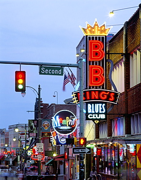 Beale Street at night, Memphis, Tennessee, United States of America, North America