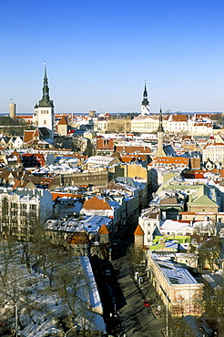 Elevated winter view over the OldTown, Tallinn, Estonia, Baltic States, Europe