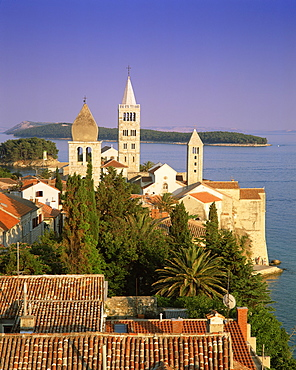 Elevated view of the medieval Rab Bell Towers and town, Rab Town, Rab Island, Dalmatia, Dalmatian coast, Croatia, Europe