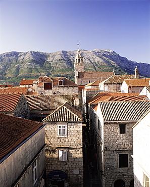 Elevated view of Korcula town looking across to the Peljesac Peninsula, Korcula Island, Dalmatia, Dalmatian coast, Croatia, Europe