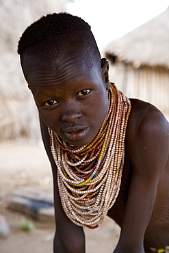 Portrait of a Karo tribeswoman, Lower Omo Valley, Ethiopia, Africa