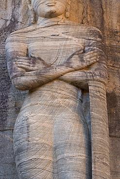 Rock carved granite image of the 7m tall standing Buddha, Gal Vihara, Polonnaruwa (Polonnaruva), UNESCO World Heritage Site, Sri Lanka, Asia