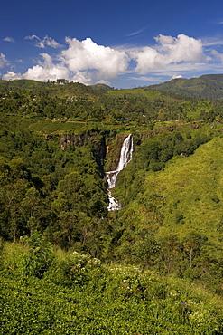 Lush highland countryside and waterfall in the Hill Country around Nuwara Eliya, Sri Lanka, Asia