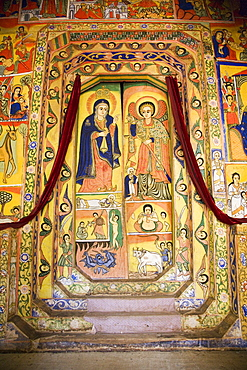 Murals in the beautifully painted Inner Sanctuary of the Christian Church of Ura Kedane Meheriet, Zege Peninsula, Lake Tana, Ethiopia, Africa