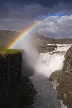 Gullfoss, Iceland's most famous waterfall tumbles 32m into a steep sided canyon, Golden Circle, Iceland, Polar Regions