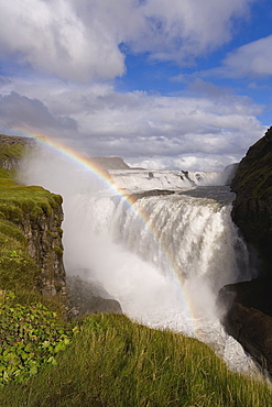 Iceland's most famous waterfall tumbles 32m into a steep sided canyon, Gullfoss, the Golden Circle, Iceland, Polar Regions
