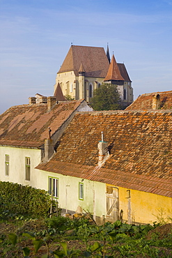Medieval Roma village on the fortified church route, 15th century fortified church, Biertan, UNESCO World Heritage Site,  near Sighisoara, Transylvania, Romania, Europe